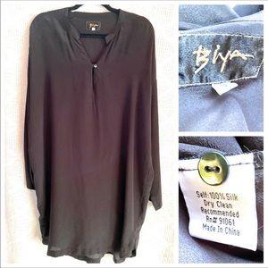 BIYA Johnny Was Silk Tunic Dress Black